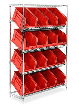 """Slanted Wire Shelving - 18 x 11 x 10"""" Red Bins H-3128R"""