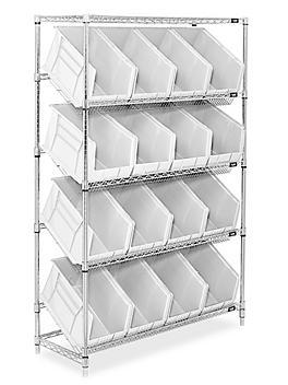 """Slanted Wire Shelving - 18 x 11 x 10"""" White Bins H-3128W"""