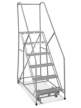 """6 Step Safety Angle Rolling Ladder - Assembled with 12"""" Top Step H-3131-12"""