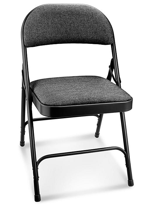 Deluxe Fabric Padded Folding Chair - Black H-3139BL
