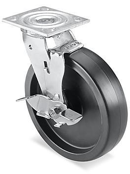 "Heavy Duty Polyolefin Caster - Swivel with Brake, 8 x 2"" H-3323SWB"