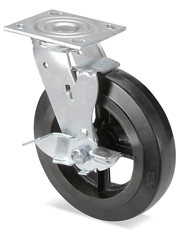"Heavy Duty Rubber Caster - Swivel with Brake, 8 x 2"" H-3327SWB"
