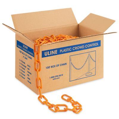 Plastic Barrier Chain - 100', Orange