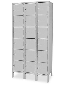 "Industrial Lockers - Six Tier, 3 Wide, Unassembled, 36"" Wide, 12"" Deep, Gray H-3639GR"