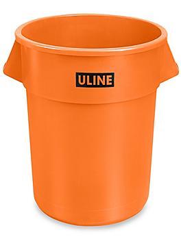 Uline Trash Can - 55 Gallon, Orange H-3689O