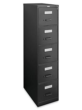 Vertical File Cabinet - Letter, 5 Drawer, Black H-3705BL