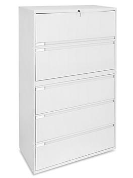 """Lateral File Cabinet - 36"""" Wide, 5 Drawer, White H-3706W"""