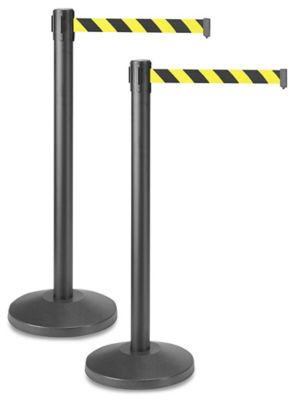 Uline Black Crowd Control Posts with Retractable Belt - Black/Yellow, 10'
