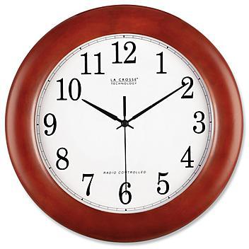 "Radio Controlled Wall Clock - Wood, 12"" H-4571"