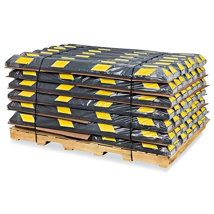 Parking Stops Skid Lot - 6', Rubber, Black/Yellow H-4608B/Y-S