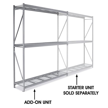 "Add-On Unit for Bulk Storage Rack - Wire Decking, 96 x 24 x 120"" H-4634"