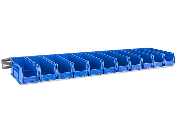 "Wall Mount Single Rail - 48 x 3"" with 11 x 4 x 4"" Blue Bins H-4682BLU"