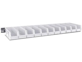 "Wall Mount Single Rail -  48 x 3"" with 11 x 4 x 4"" White Bins H-4682W"