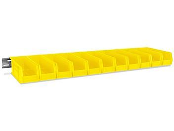 "Wall Mount Single Rail - 48 x 3"" with 11 x 4 x 4"" Yellow Bins H-4682Y"