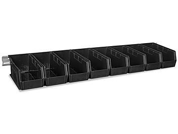"Wall Mount Single Rail - 48 x 3"" with 11 x 5 1/2 x 5"" Black Bins H-4684BL"