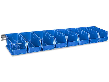 "Wall Mount Single Rail - 48 x 3"" with 11 x 5 1/2 x 5"" Blue Bins H-4684BLU"