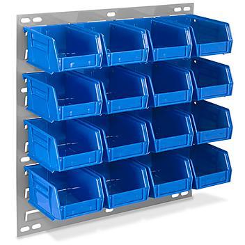 "Wall Mount Panel Rack - 18 x 19"" with 5 1/2 x 4 x 3"" Blue Bins H-4686BLU"