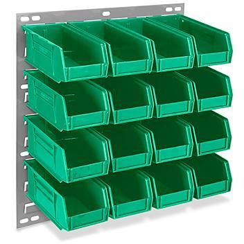 "Wall Mount Panel Rack - 18 x 19"" with 7 1/2 x 4 x 3"" Green Bins H-4687G"