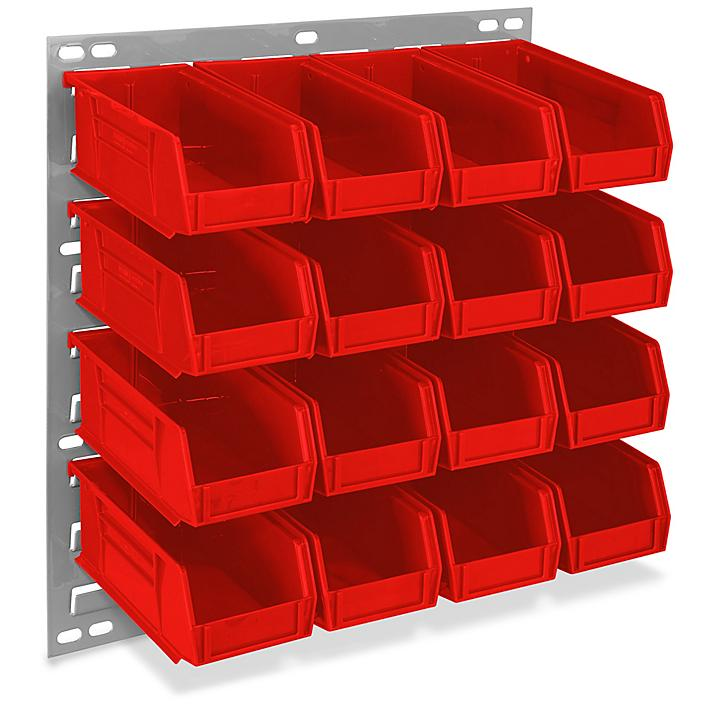"""Wall Mount Panel Rack - 18 x 19"""" with 7 1/2 x 4 x 3"""" Red Bins H-4687R"""