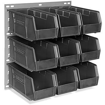 "Wall Mount Panel Rack - 18 x 19"" with 11 x 5 1/2 x 5"" Black Bins H-4688BL"