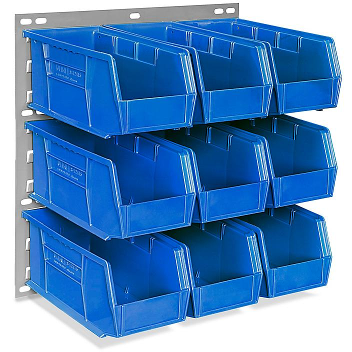 "Wall Mount Panel Rack - 18 x 19"" with 11 x 5 1/2 x 5"" Blue Bins H-4688BLU"