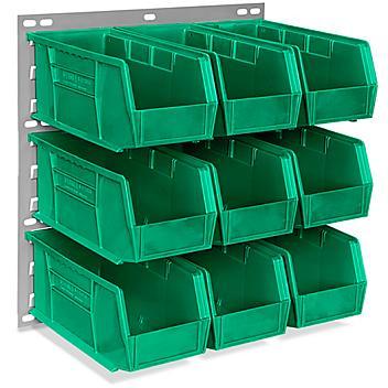 "Wall Mount Panel Rack - 18 x 19"" with 11 x 5 1/2 x 5"" Green Bins H-4688G"