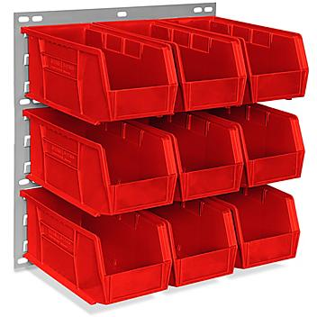 """Wall Mount Panel Rack - 18 x 19"""" with 11 x 5 1/2 x 5"""" Red Bins H-4688R"""