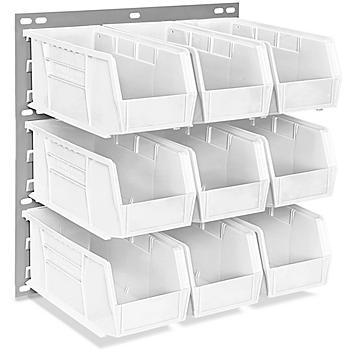 "Wall Mount Panel Rack - 18 x 19"" with 11 x 5 1/2 x 5"" White Bins H-4688W"