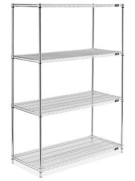 """Stainless Steel Wire Shelving Unit - 48 x 24 x 72"""" H-4798"""
