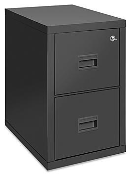 Vertical Fire-Resistant File Cabinet - 2 Drawer, Black H-4805BL