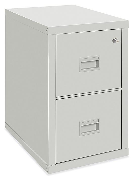 Vertical Fire-Resistant File Cabinet - 2 Drawer, Light Gray H-4805GR