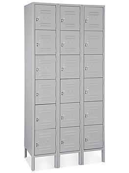 "Uline Six Tier Lockers - 3 Wide, Unassembled, 36"" Wide, 12"" Deep, Gray H-4809GR"