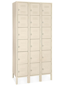 "Uline Six Tier Lockers - 3 Wide, Unassembled, 36"" Wide, 12"" Deep, Tan H-4809T"