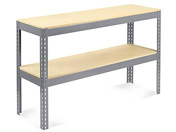 """Two-Shelf Wide Span Storage Rack - Particle Board, 60 x 18 x 36"""" H-4813"""