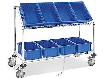 """Wire Tilt Cart - 15 x 9 x 6"""" Blue Bins H-4818BLU"""