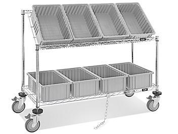 """Wire Tilt Cart - 15 x 9 x 6"""" Gray Bins H-4818GR"""