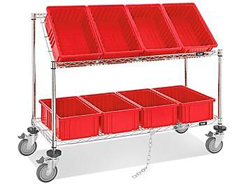 """Wire Tilt Cart - 15 x 9 x 6"""" Red Bins H-4818R"""