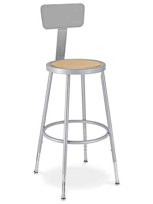 Shop Stool with Backrest - Metal with Adjustable Legs H-4828