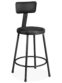 Shop Stool with Backrest - Padded, Black H-4829BL