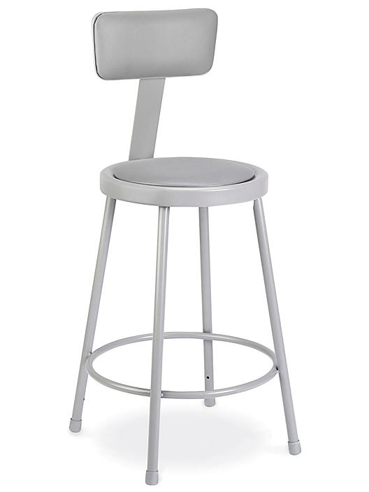 Shop Stool with Backrest - Padded, Gray H-4829GR