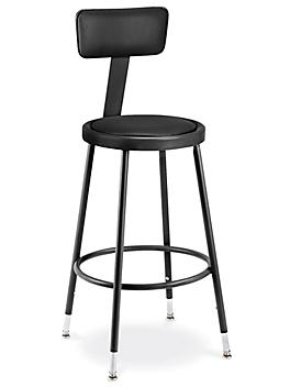Shop Stool with Backrest - Padded with Adjustable Legs, Black H-4830BL