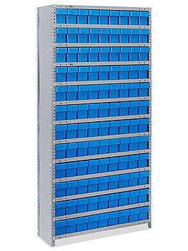 "Closed Shelf Bin Organizer - 36 x 12 x 75"" with 4 x 12 x 5"" Blue Bins H-4918BLU"