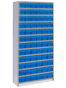 "Closed Shelf Bin Organizer - 36 x 12 x 75"" with 6 x 12 x 5"" Blue Bins H-4919BLU"
