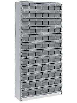 "Closed Shelf Bin Organizer - 36 x 12 x 75"" with 6 x 12 x 5"" Gray Bins H-4919GR"