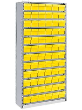 "Closed Shelf Bin Organizer - 36 x 12 x 75"" with 6 x 12 x 5"" Yellow Bins H-4919Y"