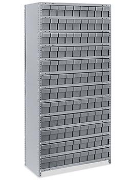 "Closed Shelf Bin Organizer - 36 x 18 x 75"" with 4 x 18 x 5"" Gray Bins H-4920GR"