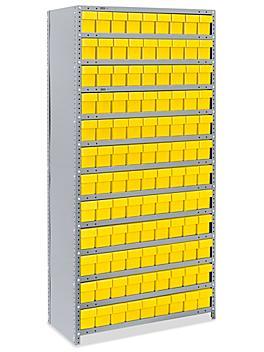"Closed Shelf Bin Organizer - 36 x 18 x 75"" with 4 x 18 x 5"" Yellow Bins H-4920Y"