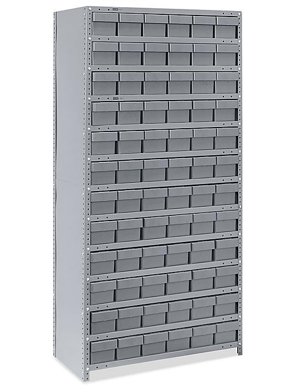 "Closed Shelf Bin Organizer - 36 x 18 x 75"" with 6 x 18 x 5"" Gray Bins H-4921GR"