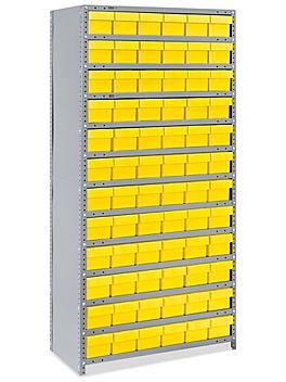 "Closed Shelf Bin Organizer - 36 x 18 x 75"" with 6 x 18 x 5"" Yellow Bins H-4921Y"
