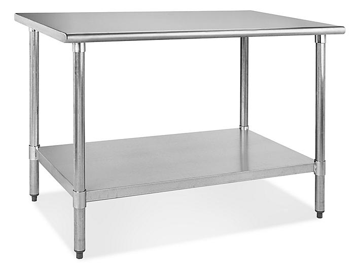 """Standard Stainless Steel Worktable with Bottom Shelf - 48 x 30"""" H-4999"""